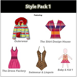 2b- Style Pack 1 - Design dresses, swimwear, hoodies, baby clothing, outerwear, jackets and more. Over 600 Templates.