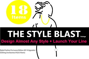1e - The Style Blast Pack - Our Largest Package! 18 Items! Includes Digital Fashion Pro V9 Luxury Edition (14 Items (Basic V9 + 13 Upgrades)) + How to Start Your Own Clothing Line Business Pack. (4 Items)