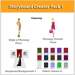 4- Storyboard Creator - Create Fashion Storyboards with Edge of Runway Side Pose and Walking Runway Pose plus Clothing Templates. Over 400 Templates