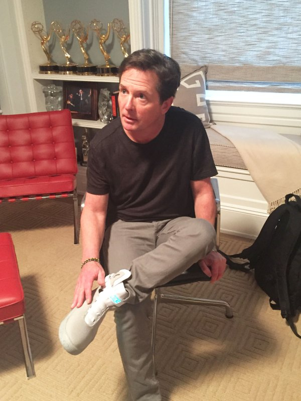 Michael J Fox wearing Back to the Future Nike Mag Sneakers