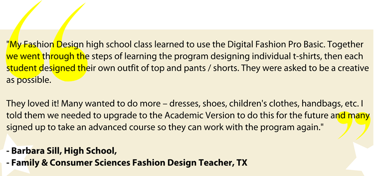 Fashion Teacher Testimonial Review on Digital Fashion Pro for her fashion design class