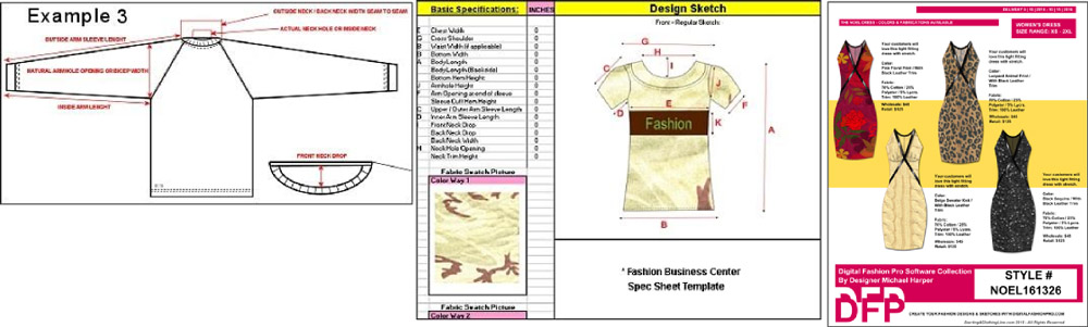 fashion design technical sketch and line sheet