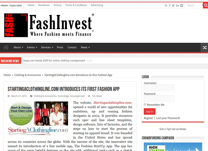 FashInvest.com Covers StartingAClothingLine.com Clothing App Release