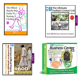 2ae- The How to Start A Clothing Line - All Business Tools Package - 4 Items!  (Official Guide to Starting a Line Book, Ultimate List E-Book of Manufacturers, Fashion Business Center, Retailers List E-Book)