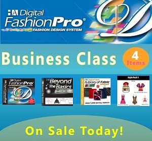 1c- Digital Fashion Pro V9 Business Class. 4 Items! Digital Fashion Pro Basic + 3 Upgrades (Style Pack, Fabric Library, Beyond the Basics). Everything included in Basic + Design Dresses, Tops, Swimwear, Hoodies, Jackets, Baby