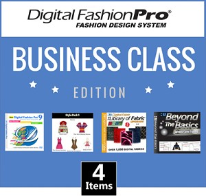 1c- Digital Fashion Pro V9 Business Class Edition - 4 Items! Digital Fashion Pro Basic + 3 Upgrades (Style Pack 1, Fabric Library, Beyond the Basics). Everything included in Basic + Design Dresses, Tops, Swimwear, Hoodies, Jackets, Baby Clothing