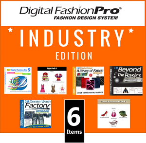 1b- Digital Fashion Pro V9 Industry Edition Clothing Design Software - 6 Items! Digital Fashion Pro Basic + 5 Upgrades (Style Pack, Fabric Library, Beyond the Basics, Denim Wash Factory, Shoes & Accessories)